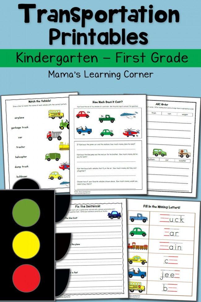 Transportation Worksheets for Kindergarten and First Grade | Pinterest