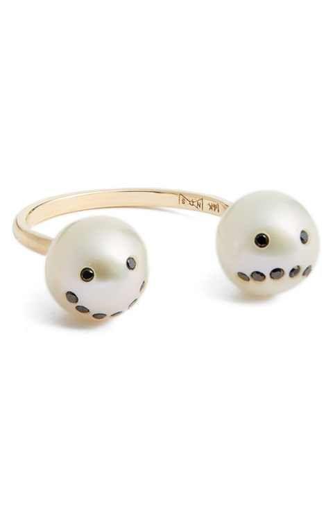 Nektar de Stagni 'Drama' Black Diamond & Cultured Pearl Open Ring