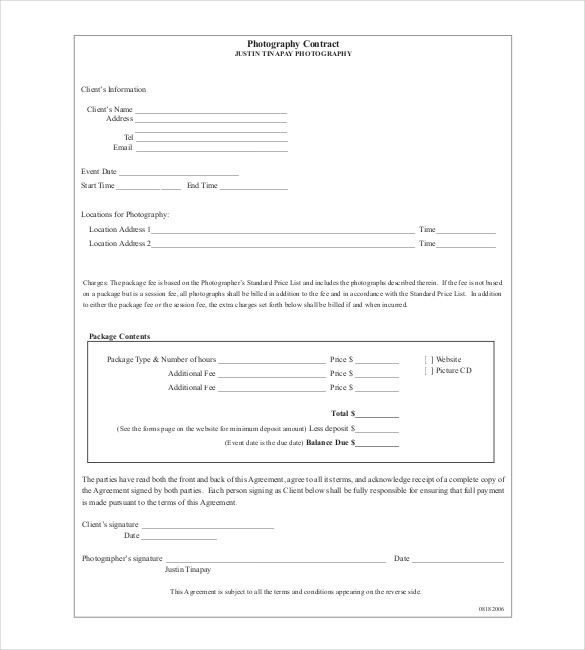basic contracts basic photography contract template pdf wedding