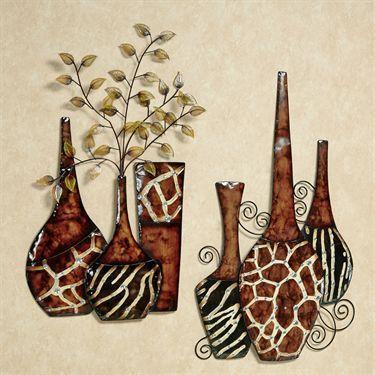 safari print vase metal wall art set home deco tableau pinterest