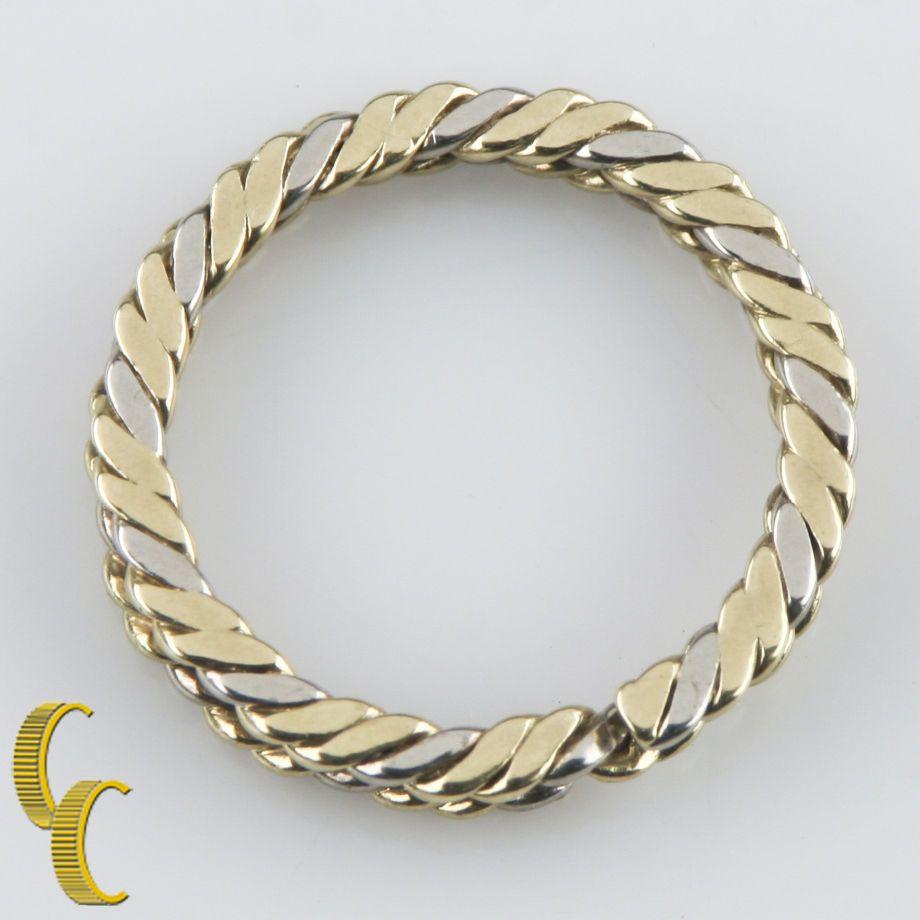 Tiffany u co vintage retired k white u yellow gold rope key ring