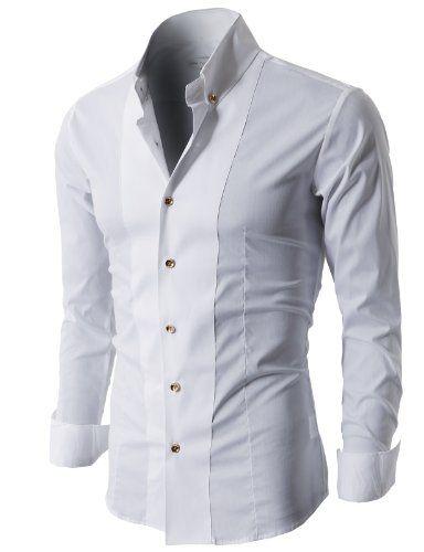 1b3e68fc5 H2H Premium Mens Modern Button-down Shirts with Gold Button Trim ...