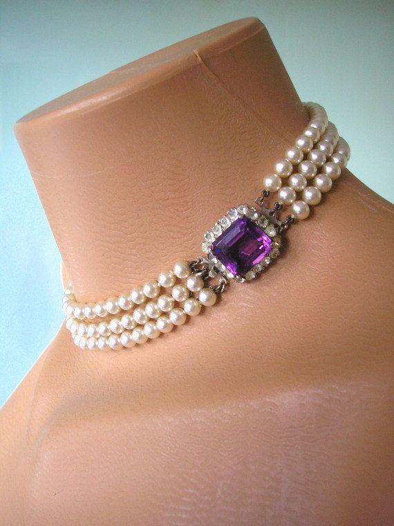 Purple violet pearls crystal silver collar choker vintage style beaded necklace