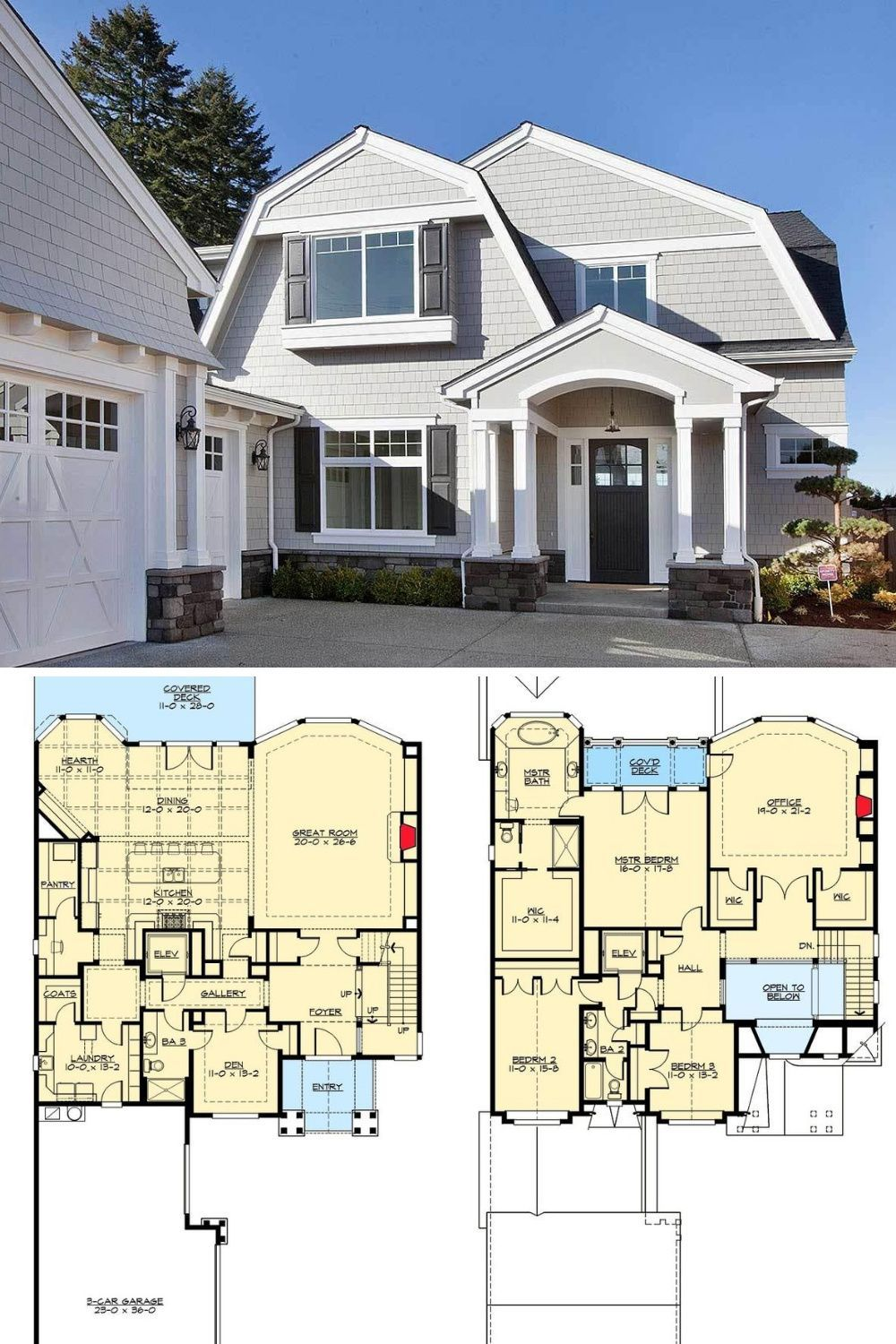 3 Bedroom Two Story Cape Cod Home With Gambrel Roofs And Open Floor Plan Floor Plan Beach House Plans Cape Cod House Plans Gambrel Roof