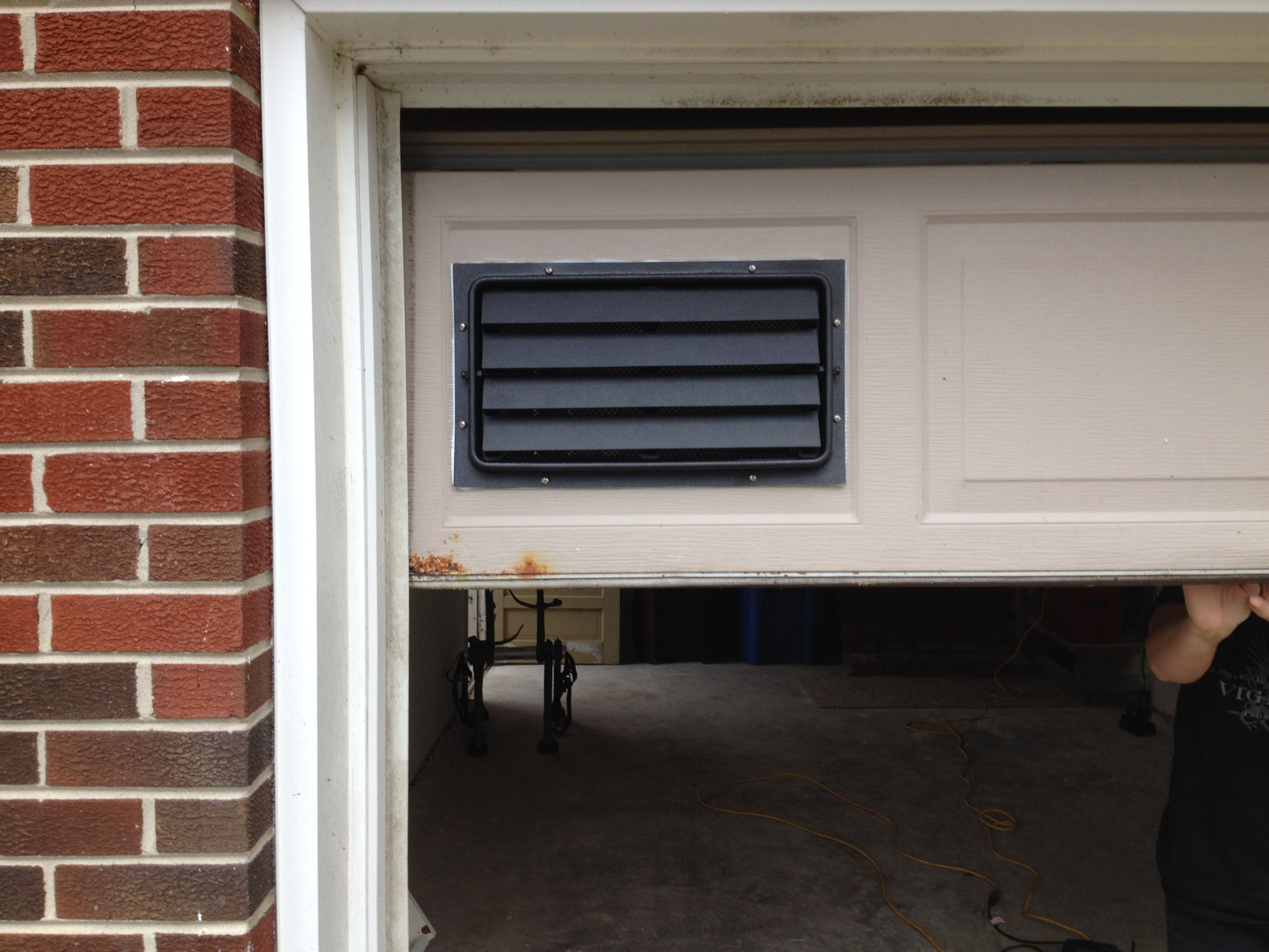 Our 8x16 Engineered Flood Vent With Trim Sleeve Installed In A Garage Door In Virginia Beach Va Flood Vents Door Installation Crawlspace