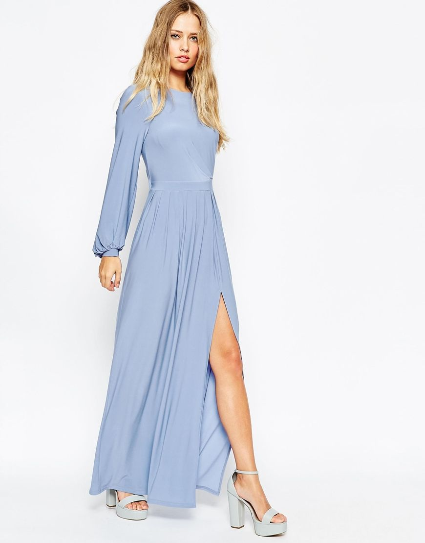 Asos long sleeve slinky maxi dress bridesmaid dresses pinterest