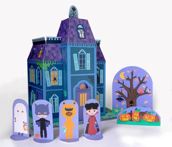 Printable Haunted House Paper Toy Halloween Decor Indoor