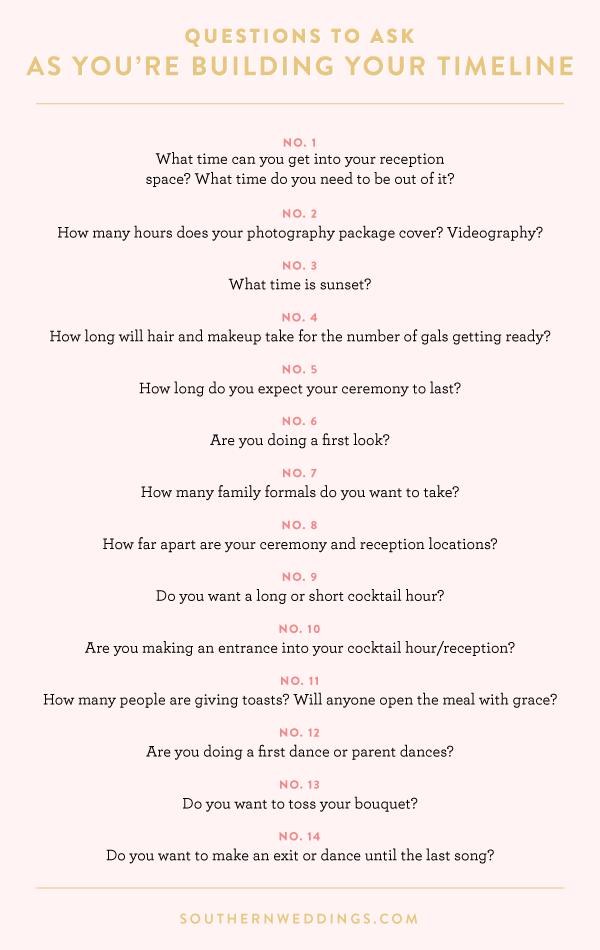 Expert Advice Creating A Wedding Day Timeline Pinterest