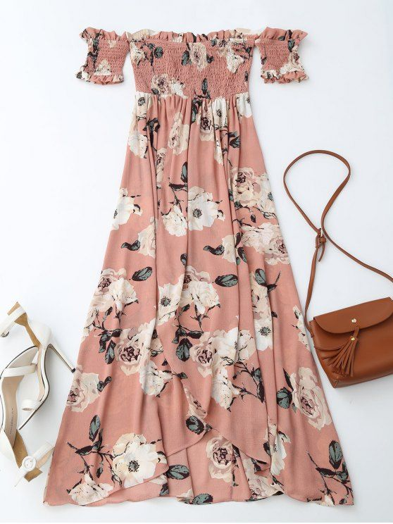 4be80fd7f06 Off Shoulder Shirred Slit Floral Maxi Dress
