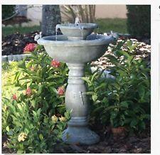 Outdoor Water Fountain Solar On Demand Bird Bath 2-Tier Garden Backyard New