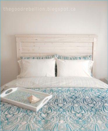 White Washed Queen Headboard White Headboard Wood Bed Frame