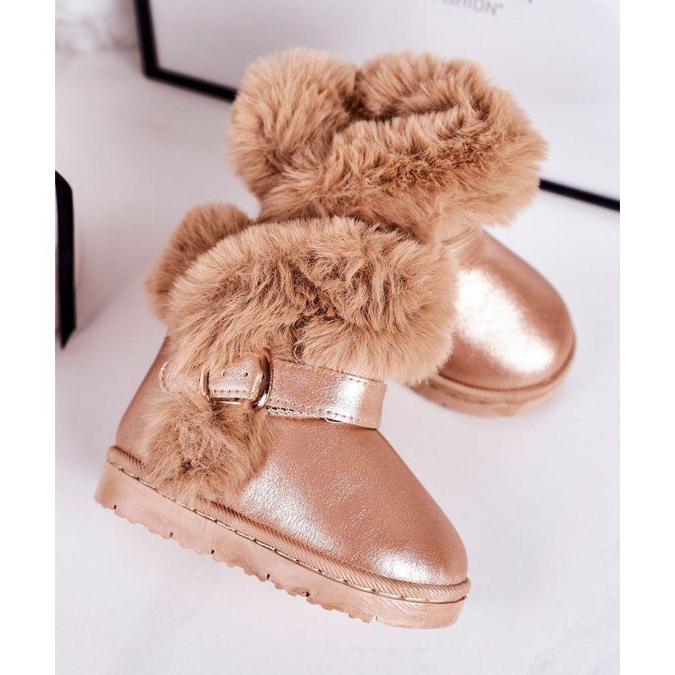 Frrock Ocieplane Dzieciece Botki Sniegowce Z Futerkiem Rozowe Zloto Jellybeans Zloty Boots Ugg Boots Shoes