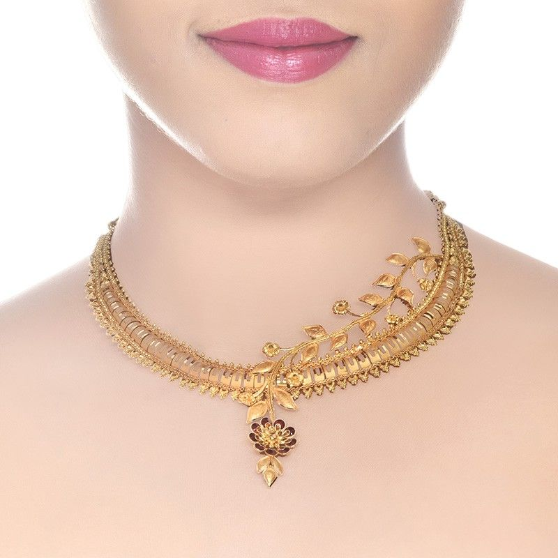 22K Yellow Gold Floral Asysmetric Neckalce | Floral, Gold and Gold ...