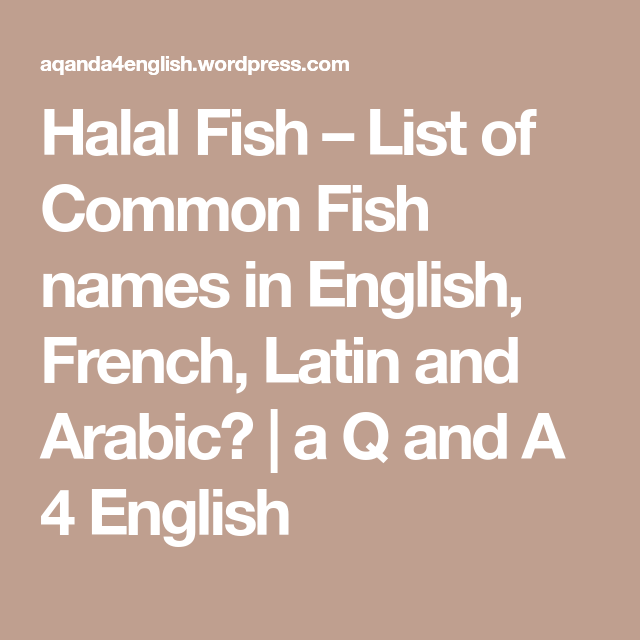 Halal Fish – List of Common Fish names in English, French