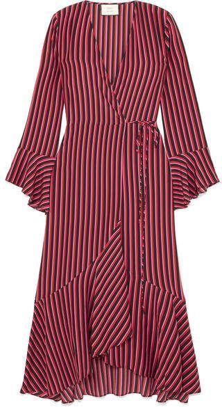 9960c6a3f496 RIXO London - Laura Jackson Luna Striped Silk-crepe Wrap Dress - Red ...