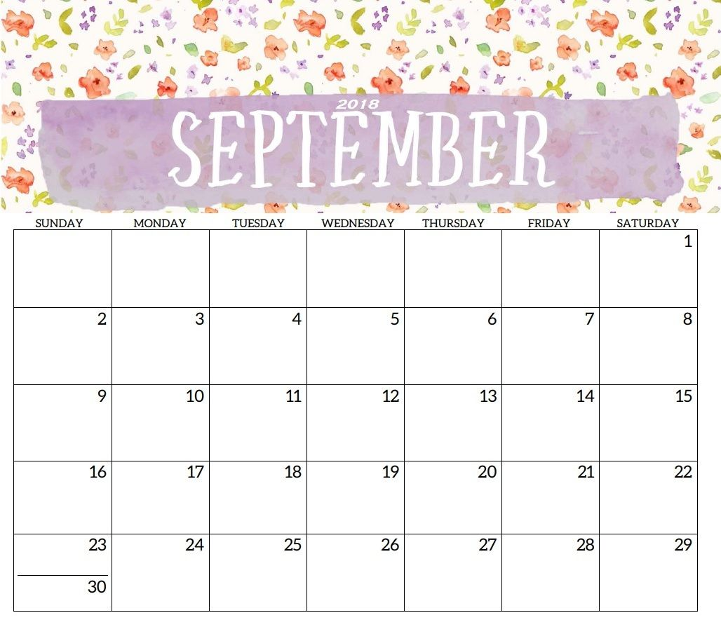 Cute Printable September Calendar