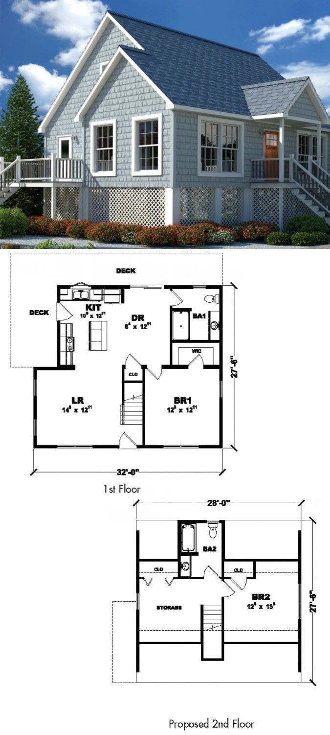 Tiny Home Designs: The Breezy Point- 825 Sq. Ft. On The First Floor And 454