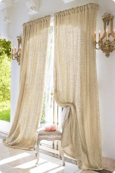 Raw Silk Open Weave Curtains Drapery Panels Traditional