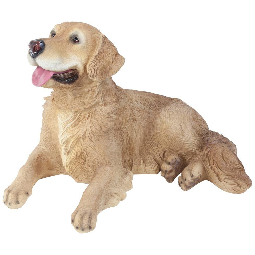 Large Realistic Laying Golden Retriever Dog Polyresin Garden