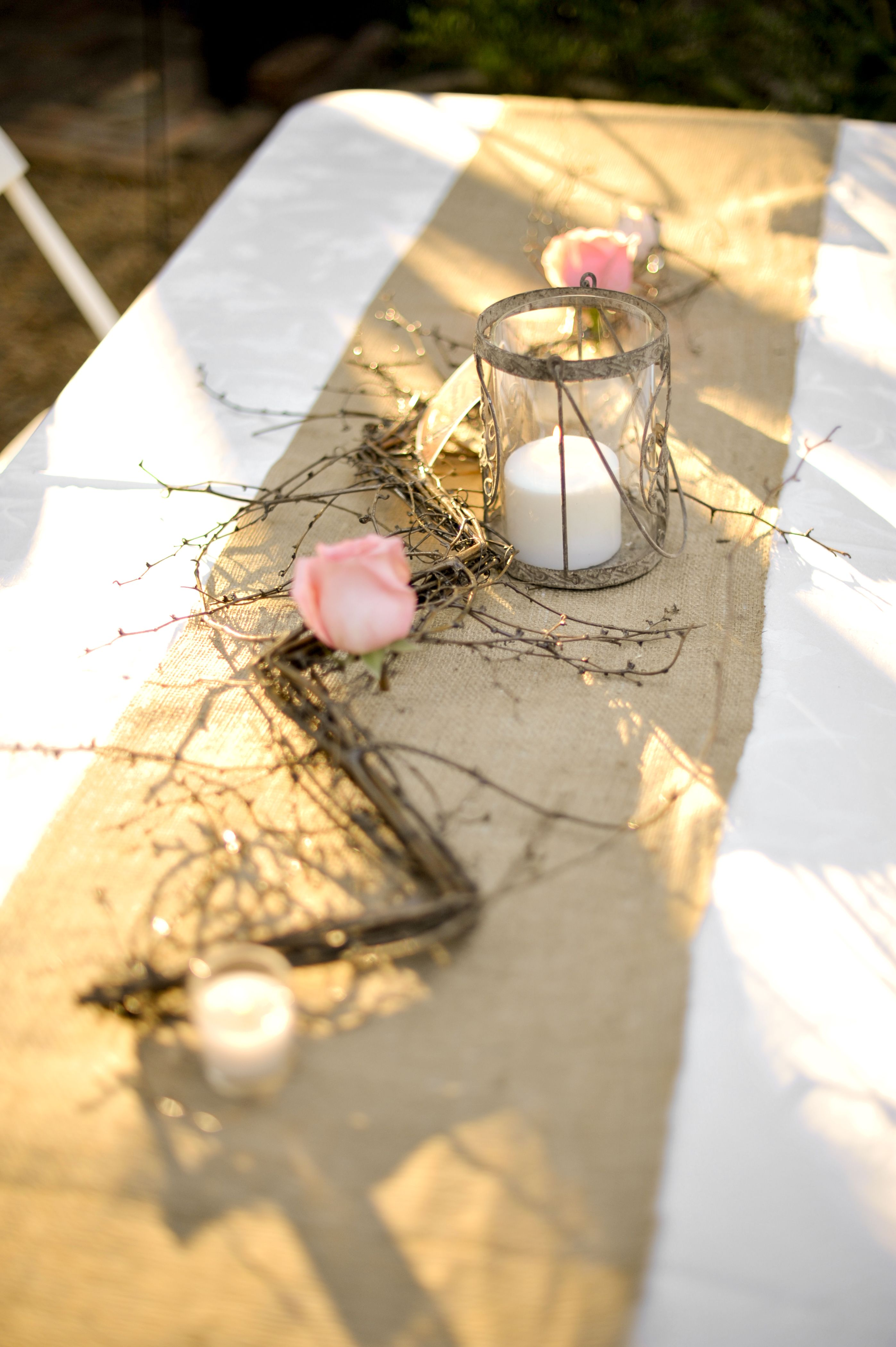Prom Dinner Party Ideas Part - 31: Simple Burlap Table Decorations With Roses And Candles · Wedding DinnerBurlap  Table DecorationsProm PartyWedding ...