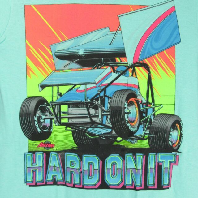 Details About Vintage 80s Hard On It Sprint Car Racing 2 Sided T Shirt L Narc World Of Outlaws In 2020 Sprint Car Racing Sprint Cars Race Cars