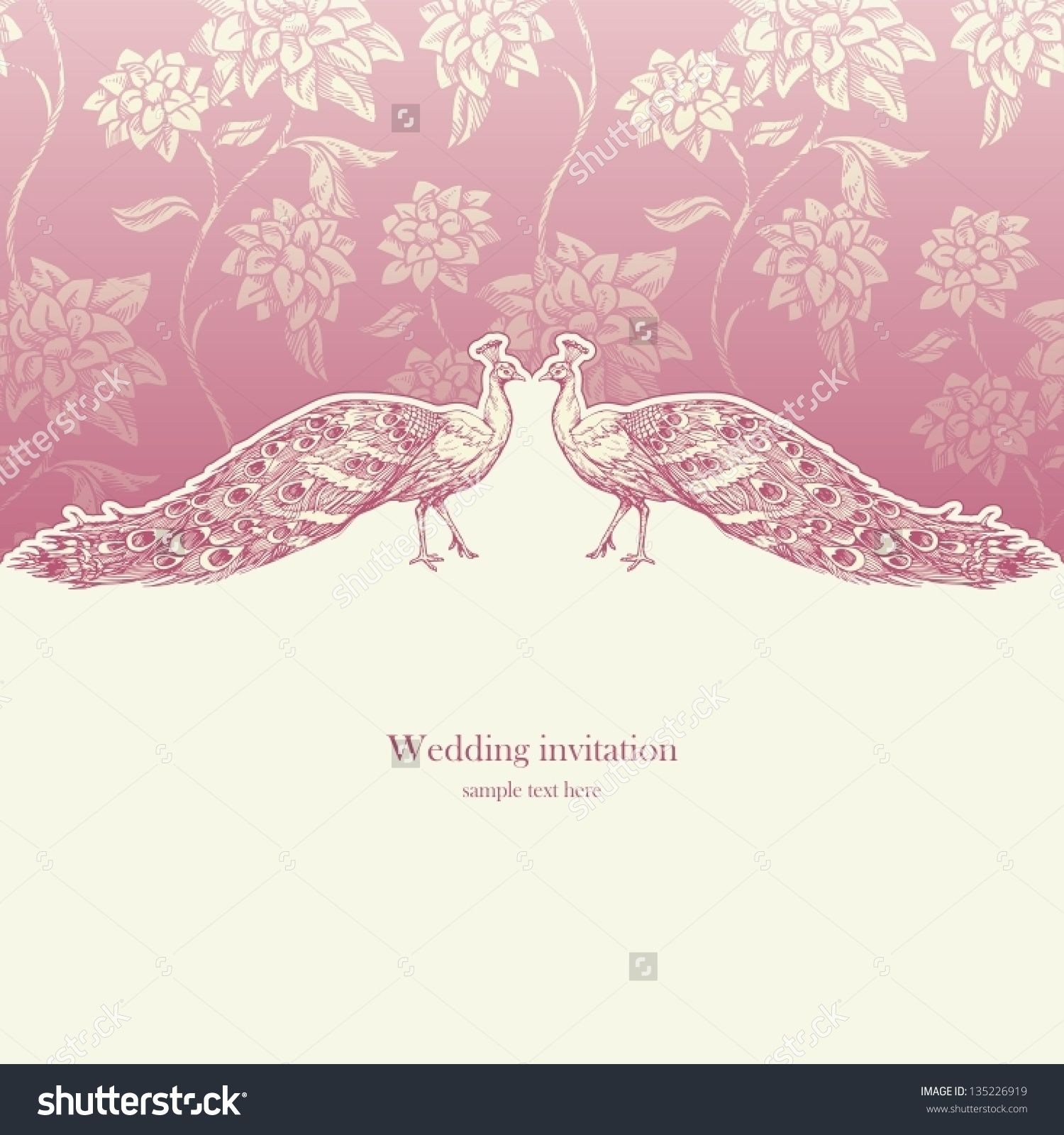 Vintage wedding invitation card antique background luxury greeting