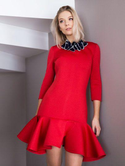 35588066749 Red neoprene dress with wavy bottom Shop www.everyone.lt