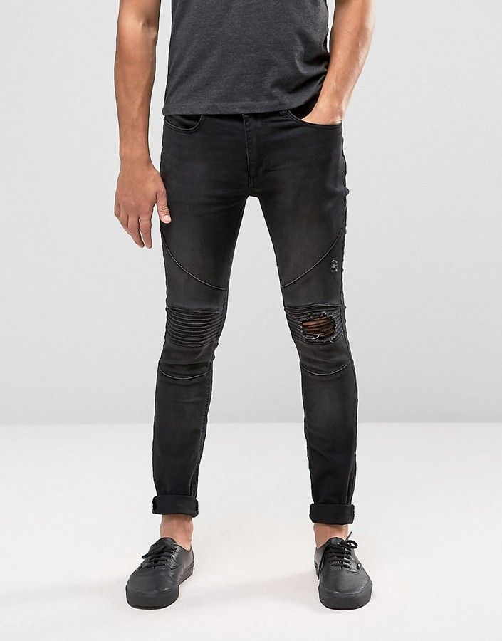 Biker Jeans With Rip Repair Knee Detail In Skinny Fit With Stretch - Washed black Religion Cheap Pictures Buy Cheap Footaction kg3RJKF