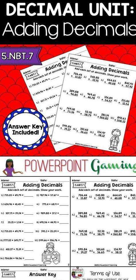 Adding Decimals Worksheets Adding decimals, Decimals