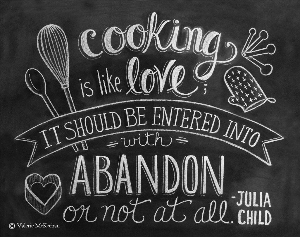 Julia Child Print   Kitchen Art   Chalkboard Print   Cooking Is Like Love  Quote