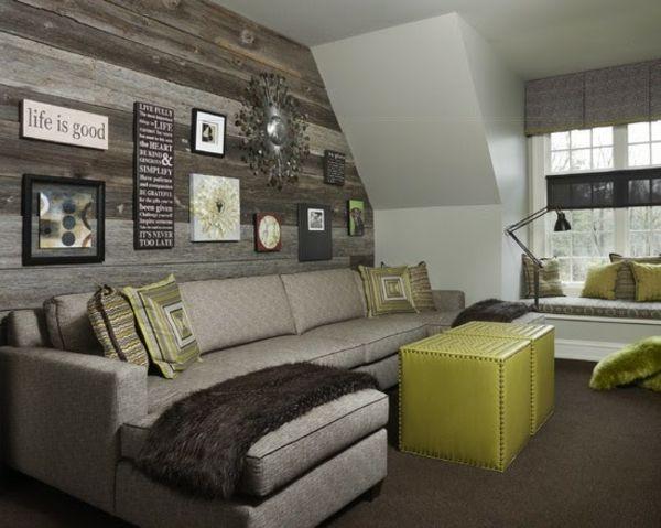 rustikale Holz Verkleidung Fotowand grünes Lederhocker - wohnzimmer ideen rustikal