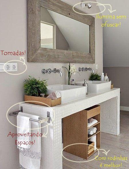 Dicas para banheiros e lavabos pequenos Double towel rail, Towel - lavabos pequeos