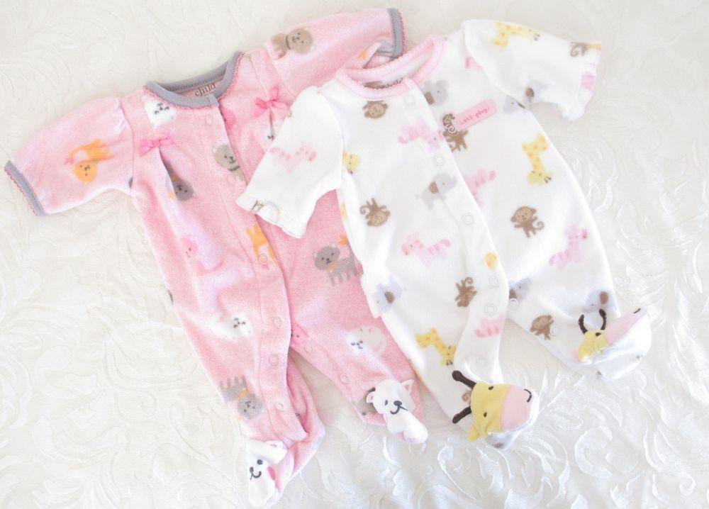 c996f6d9f Carter's Child of Mine Preemie Fleece Sleeper Baby Girl Clothes, PJs, Lot  of 2 #Carters #Everyday