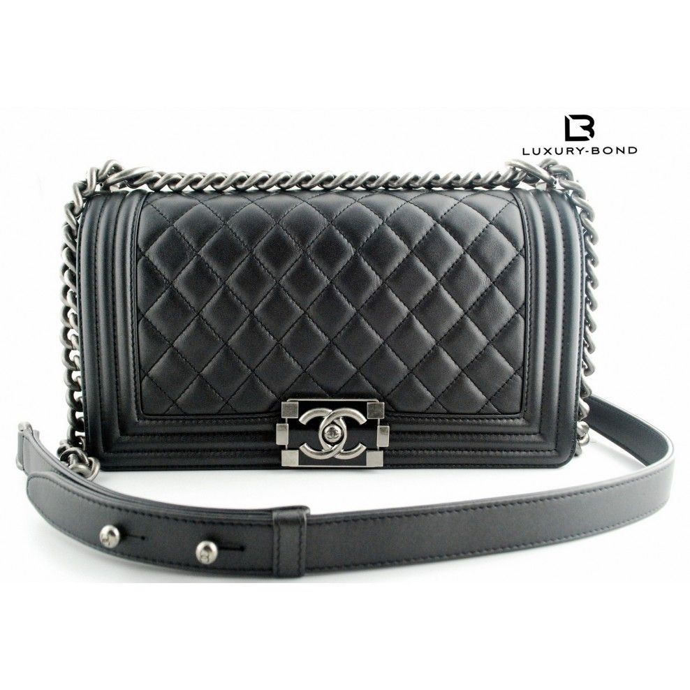 8ff56ed68612 Chanel Le Boy Black Calfskin Quilted Old Medium Size Flap Bag with  Ruthenium Hardware LIMITED EDITION PAINTED LOCK