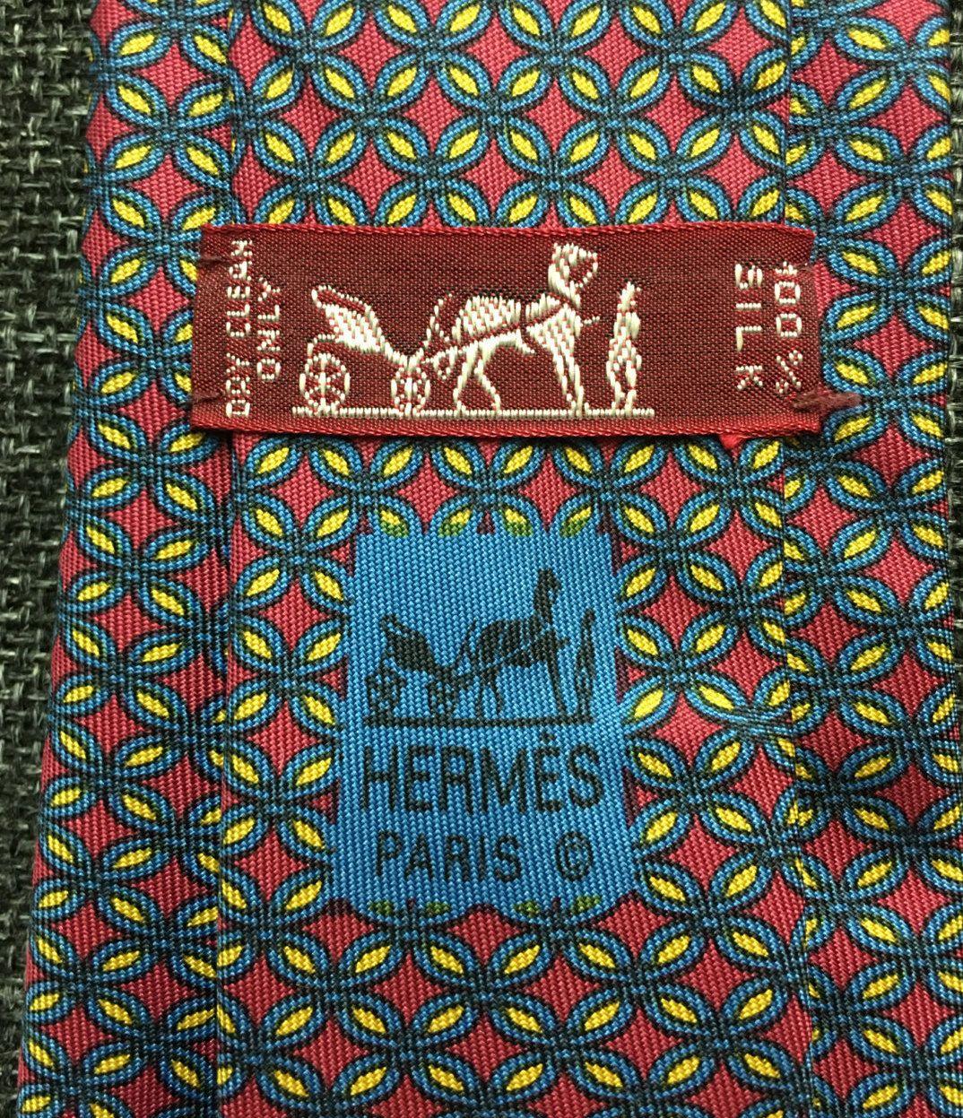 HERMÈS 100% Silk Tie - Interlocking Circles Pattern - 7064 TA Red AK3DnjcS