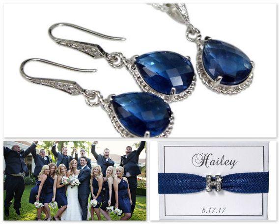 Sapphire Bridesmaid Jewelry  Blue Bridesmaid by NADEGEgifts #sapphire #navy #navywedding #weddingtheme #weddingidea #bridesmaids