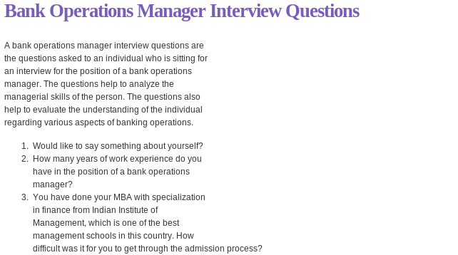 Bank Operations Manager Interview Questions Read More  HttpWww