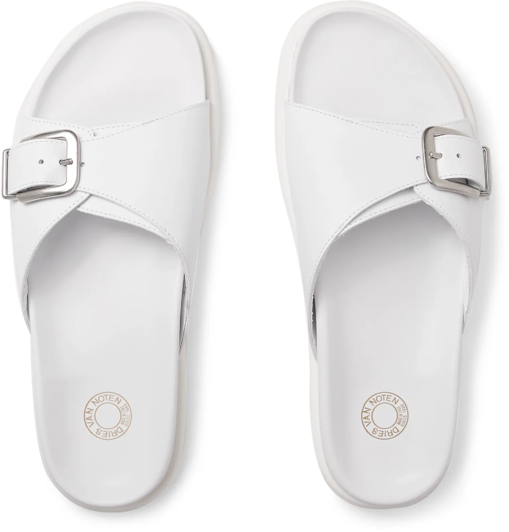 White Buckled Leather Slides | Dries