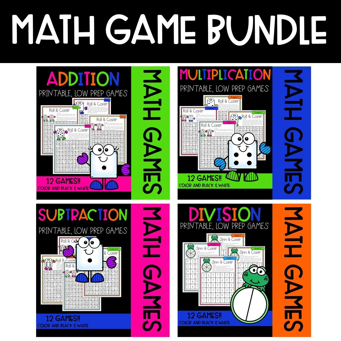 Roll & Cover Math Games! {BUNDLE ALL 4 BASIC OPERATIONS