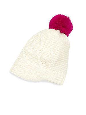 8b652cd4f98 Surell Kid s Rabbit Fur Pom-Pom Cable-Knit Hat