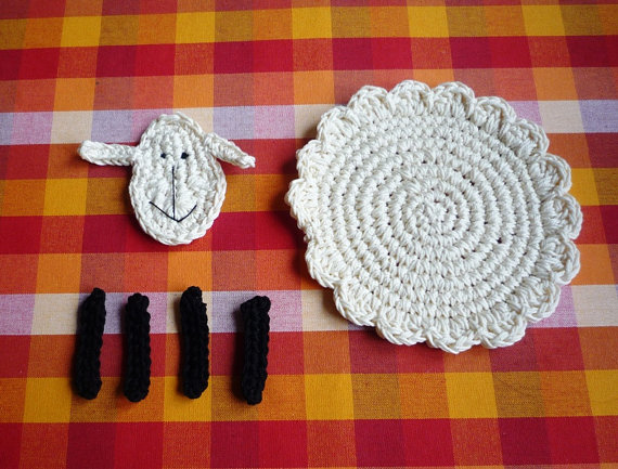 Crochet Patrón de posavasos de ovejas bricolaje por MonikaDesign ...