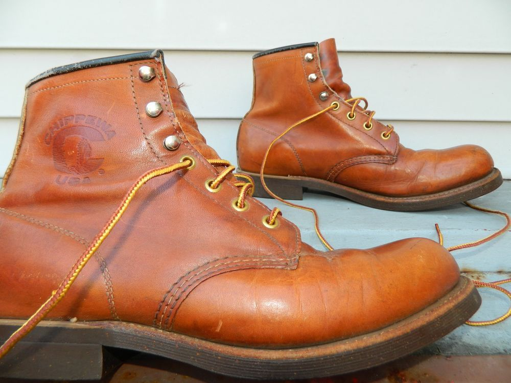 """1990's Chippewa 6"""" Work Boots / US Men size: 9 1/2 D / Made in USA / Used #Chippewa #6WorkBoots"""