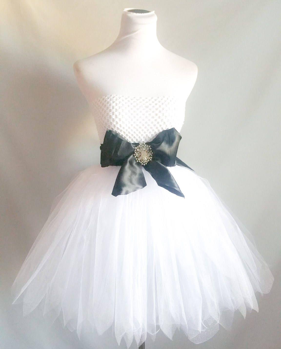 Girls black and white tulle dress long black and white tutu dress