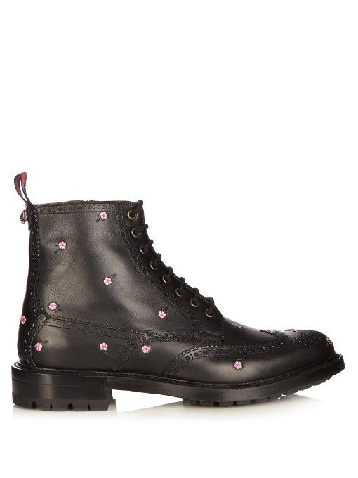 84545a31796 GUCCI Lace-Up Floral-Embroidered Leather Brogue Boots.  gucci  shoes  boots