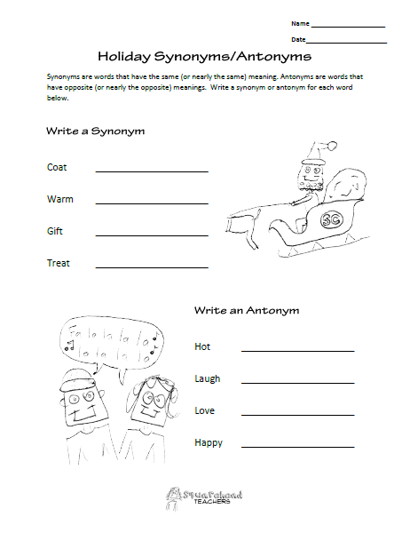 Squarehead Teachers: FREE language arts worksheet (synonyms and ...