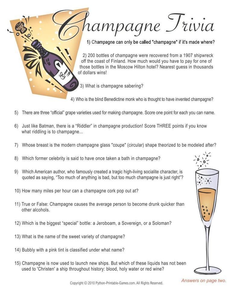 New Year's Eve Champagne Trivia Game, 6.95 50th