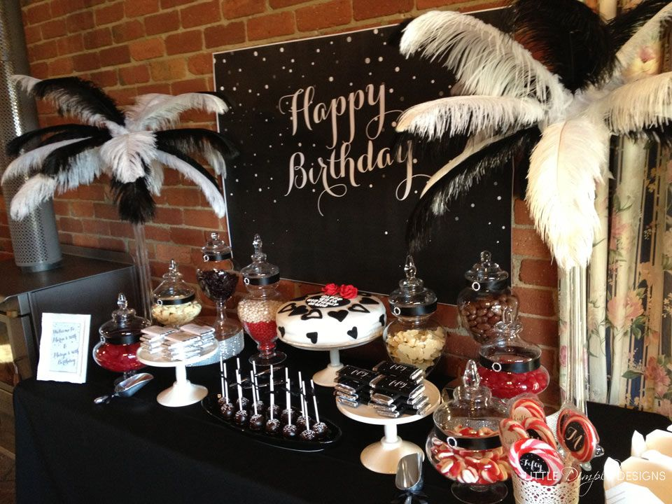 Black And White Classy 50th Birthday Party Table Ideas