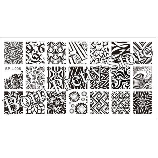 Onda y textura patrones Nail Art sello placa de la imagen plantilla ...