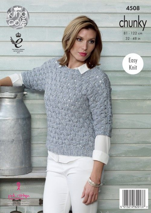 d50877d74b0180 Knitted 3 4 sleeve jumper. Authentic Chunky. Soft marl shade - King Cole