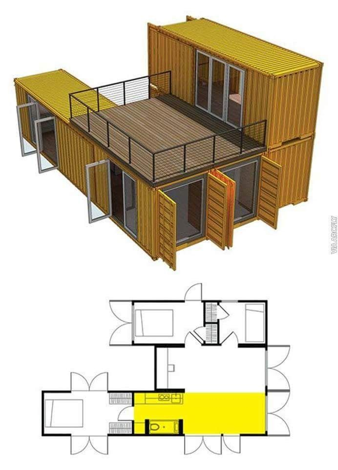 Build your own container house contenedor pinterest for Maison dans container